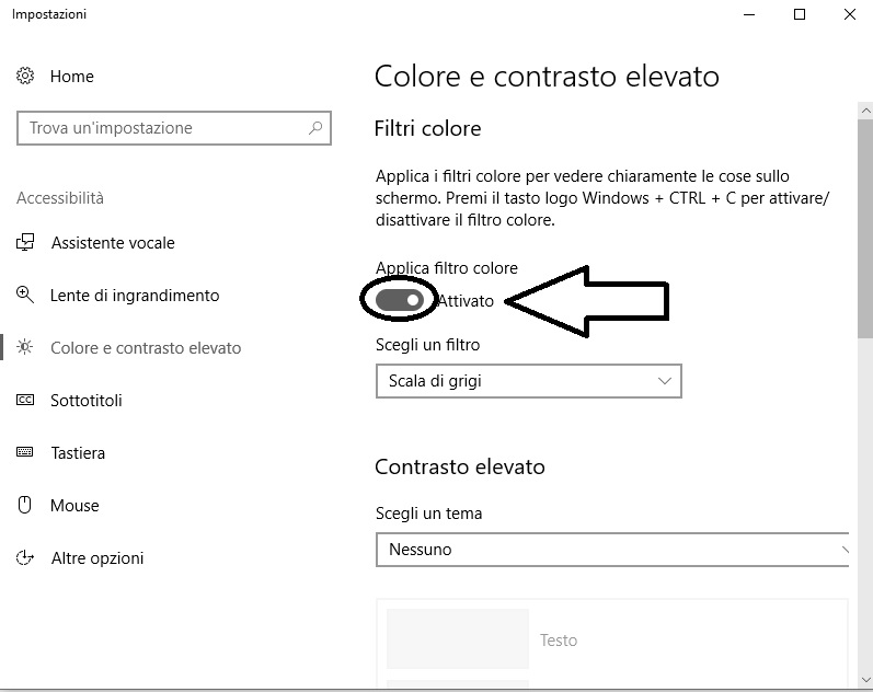 Contrasto elevato su Windows 10